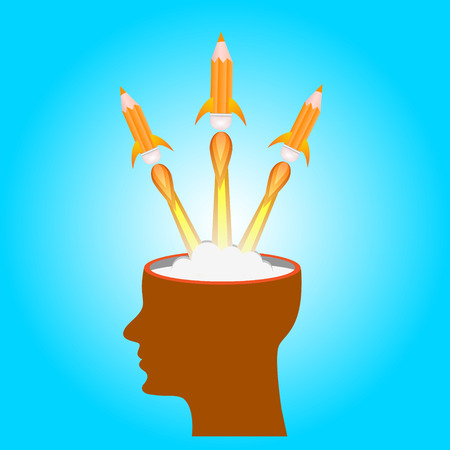 head start: Idea launch rocket with form head, Creative start, Vector illustration. Illustration