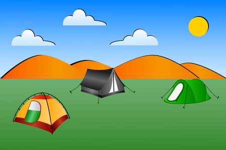 peg: Illustration of 3 tents in a field