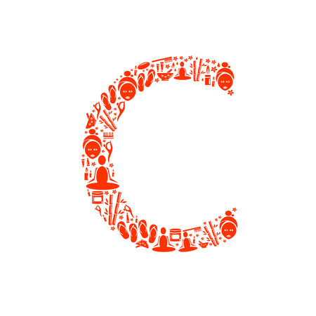 papering: Abstract vector alphabet - C made from Icon Spa - alphabet set.