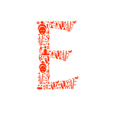 papering: Abstract vector alphabet - E made from Icon Spa - alphabet set. Illustration