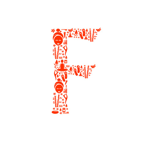 papering: Abstract vector alphabet - F made from Icon Spa - alphabet set. Illustration