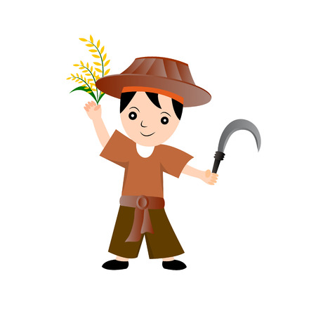 asian culture: Farmer - Vector Character Cartoon Illustration