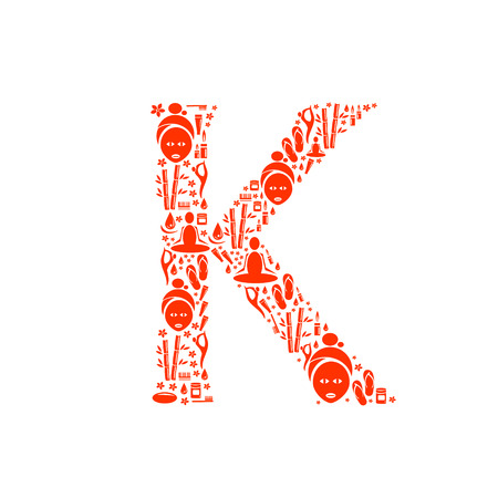 papering: Abstract vector alphabet - K made from Icon Spa - alphabet set. Illustration