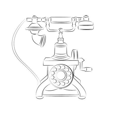 connexion: cartoon vector outline illustration telephone ringing