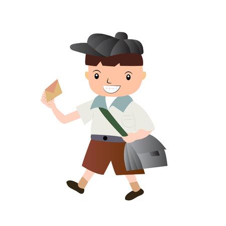 Funny cartoon boy with envelope Illustration