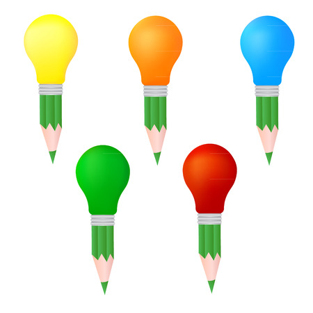 color pencil light bulbs illustration Illustration