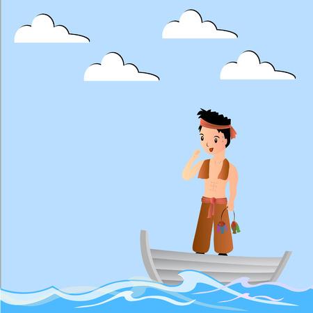 Pêcheur drôle de bande dessinée Banque d'images - 34352603