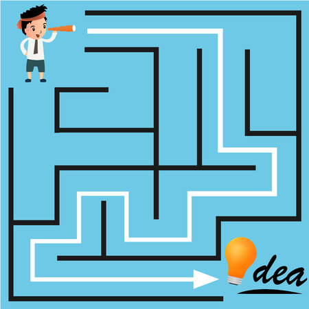 Confused, businessman looking at the white arrow through the labyrinth. Vector