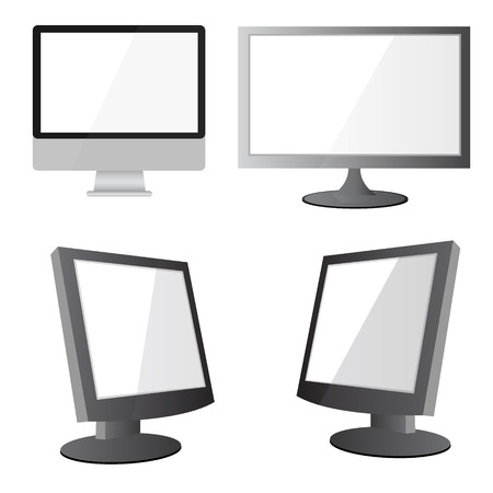 """""""flat screen"""": Vector illustration of modern flat screen computer monitor, isolated on white background"""