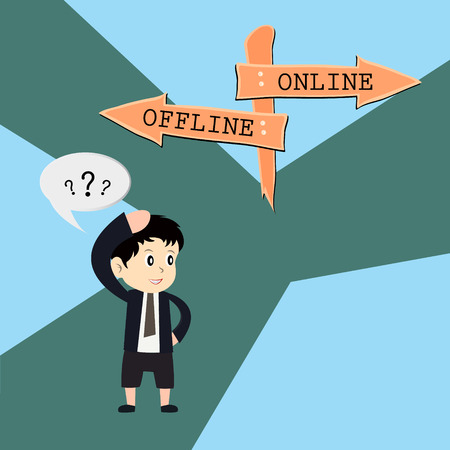 signal pole: metaphor humour design , online vs offline Illustration