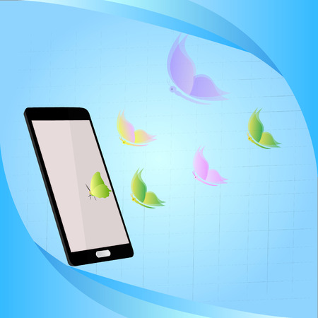 mms: butterflies on a phone on a blue background.