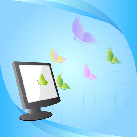 concept design, butterfly flying out from computer Vector