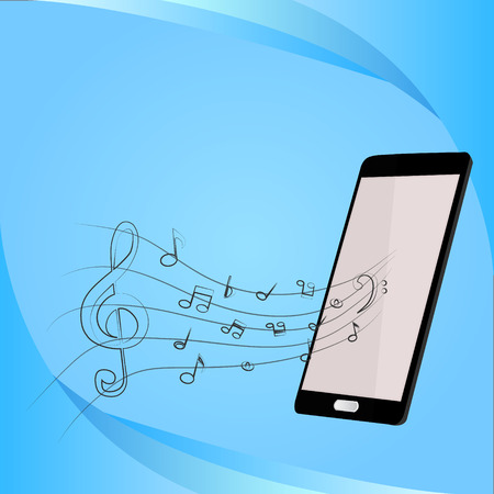 handsfree telephones: Mobile music phone vector illustration Illustration