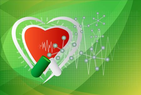 ventricle: Ilustraci�n digital de coraz�n en color de fondo, vector.