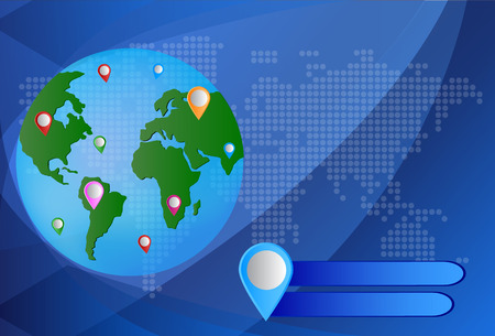 World Mapwith GPS Icons. Global Navigation Vector