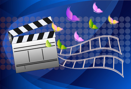 film role: Cinema slate board. Vector illustration.