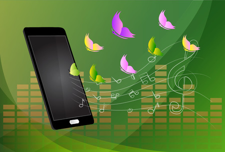 handsfree: Mobile music phone vector illustration Illustration