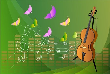 mozart: illustration of violin on colorful abstract grungy background