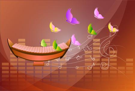 xilofono: xil�fono, Fondo musical Vectores