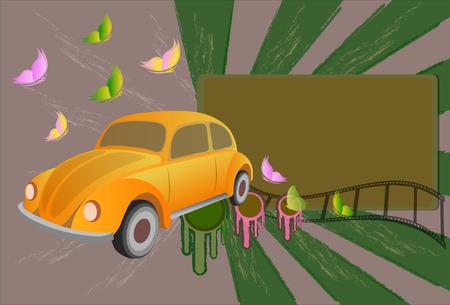 abstruse: Classic car , vector Illustration