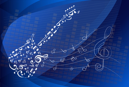 scores: Vector illustration of Guitar Melody, simple white on blue. Illustration
