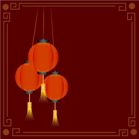 Chinese traditional red lanterns ,vector illustration Illustration