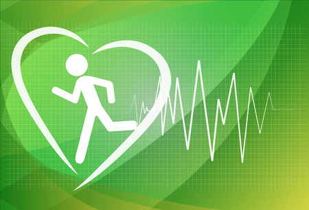 Heartbeat make running man symbol stock vector. Health concept Vector