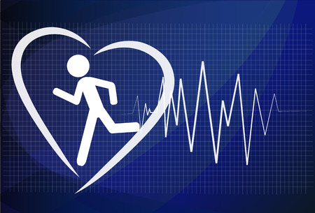 Heartbeat make running man symbol stock vector. Health concept Illustration