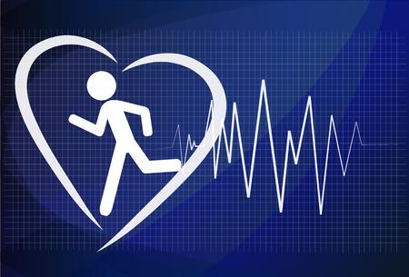 Heartbeat make running man symbol stock vector. Health concept Vectores