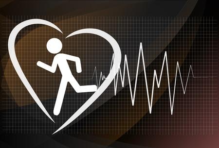Heartbeat make running man symbol stock vector. Health concept Illustration