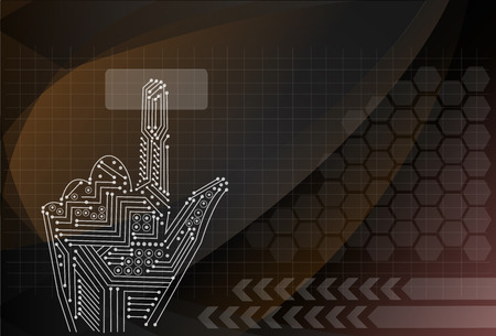 input device: Hand pushing a button Illustration