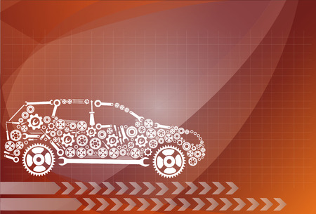 industrial complex: concept, symbolizing the car as a mechanism Illustration