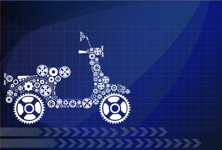 Abstract gears in Motorcycle shape