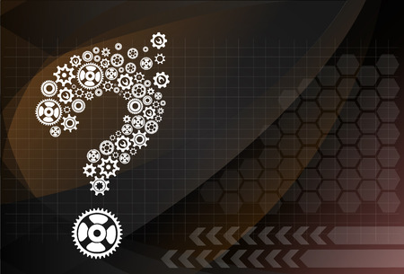 rack arrangement: Abstract image with question mark made of gears