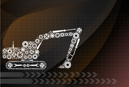 backhoe: Backhoe icon of tractor from gears. vector eps10