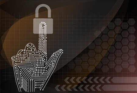 computer security: padlock icon holding by hand on the background technologies. Illustration