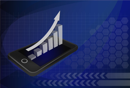 smartphone business: Business concept: touchscreen smartphone with stock market application and bar chart. Vector illustration. Illustration