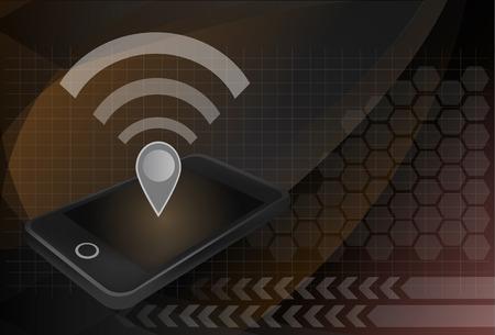 point chaud: Concept de hotspot personnel. Wifi et carte broche ic�ne au-dessus de smartphone. Layered fichier pour la personnalisation facile.