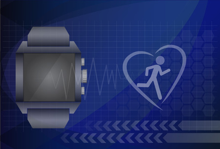 heart monitor: Fitness tracker application for smart watch concept with heart monitor and silhouette of running or jogging person.