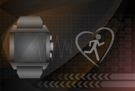 heart monitor: Fitness tracker application for smart watch concept with heart monitor and silhouette of running or jogging person. Eps10 vector illustration.