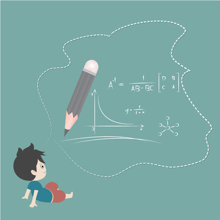 prodigy: hand drawing vector illustration. Cartoon boy  and mathematics Illustration