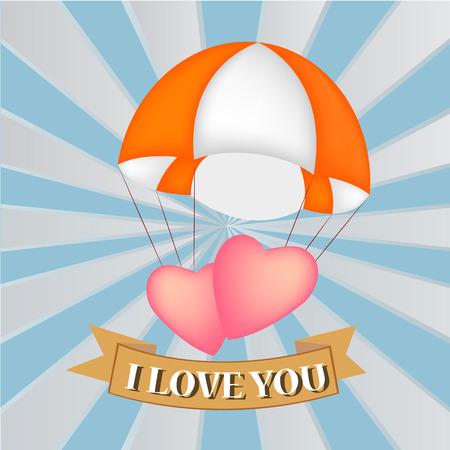 heart at parachute, vector Vector
