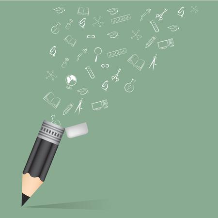 Black pencil school education concept with doodle icons set vector illustration. Vector