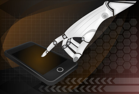 Robotic hands holding a mobile phone with blank screen. Contains vector paths for screen and hands. Vector