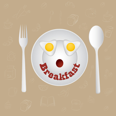 sunny side up eggs: Happy Face Frying Eggs breakfast. Vector.