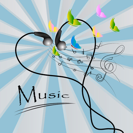 Black wire headphones earplugs with colored sound waves poster vector illustration Vector