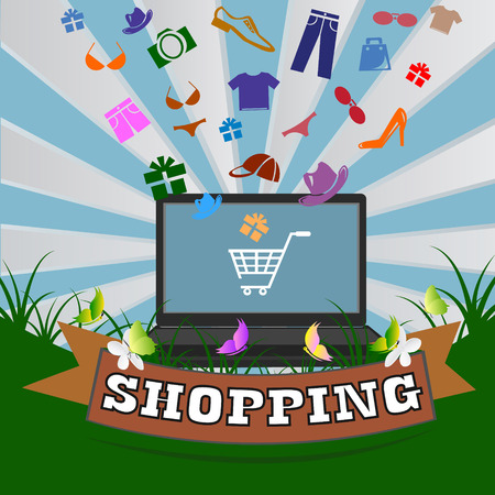 Online shopping and modern technology. clothing icons. Conceptual background.