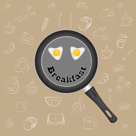 fried eggs: Breakfast Poster. Fried eggs on pan. Vector illustration. Illustration