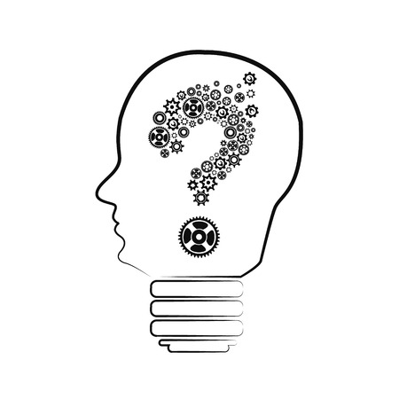 unsolvable: head of a manikin with a question mark inside it, concept of questions and doubts