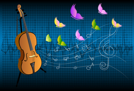 instrumental: illustration of violin on colorful abstract grungy background